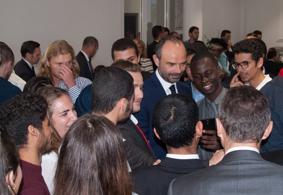 French Prime Minister Édouard Philippe visits the ESSEC Africa-Atlantic campus